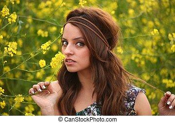 bello, campo, donna, fiore, felice