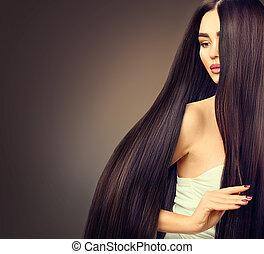 bello, capelli, brunetta, ragazza, sopra, lungo, scuro, sfondo nero, modello, diritto