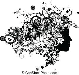 bello, capelli, fiori, donna, fatto