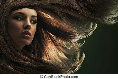 bello, capelli marroni, signora, lungo