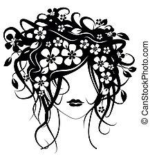 bello, capelli, ragazza, fiori