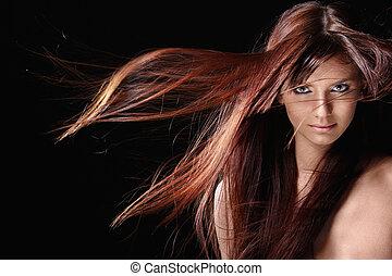 bello, capelli, ragazza, rosso