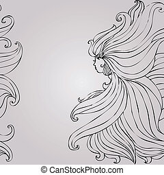 bello, capelli, ragazza, seamless