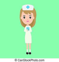 bello, carattere, infermiera, libro, paziente