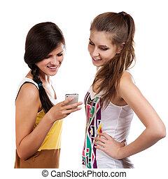 bello, cellphone, ricevere, ragazze, sms, giovane, mandare, usando
