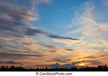 bello, cielo, nubi, tramonto