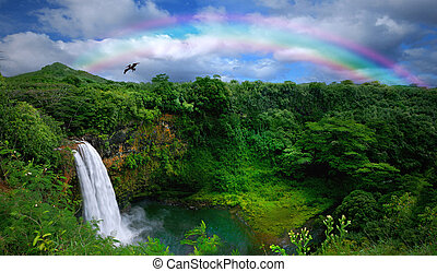 bello, cima, cascata, hawai, vista