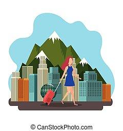 bello, cityscape, ragazza, turista, valigia