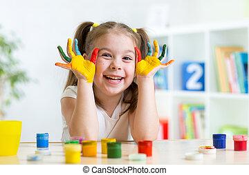 bello, colorare, vernici, bambino, mani, ragazza