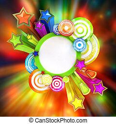 bello, colorato, manifesto, zebrato, discoteca, retro, stelle