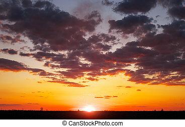 bello, colorito, cielo, sunrise., tramonto, durante, o