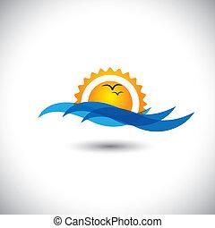 bello, concetto, &, -, oceano, alba, vettore, onde, mattina, uccelli