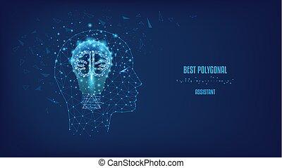 bello, concetto, processo nascita, lamp., cervello, triangoli, blu elettrico, visualizzazione, thoughts., pensare, polygonal, poly., points., basso, testa, pensare, forma, illustrazione, scuro, umano, fondo, uomo, sky., notte