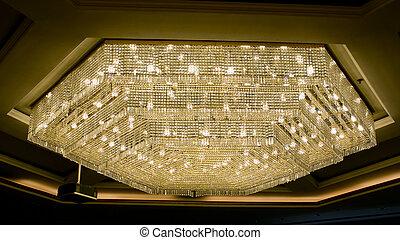 bello, cristallo, candeliere, stanza