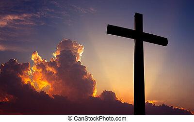 bello, cristiano, sopra, croce, tramonto, fondo