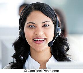 bello, cuffia, discorso, donna d'affari, ufficio, il portare, cliente