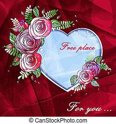 bello, cuore, spazio, testo, rose, fondo