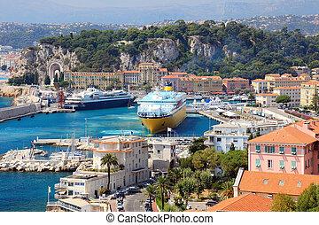 bello, d'azur., porto, grande, od, francia, navi, cote, crociera, europe., bello