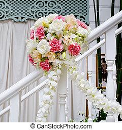 bello, decorazione, fiore, scale, matrimonio