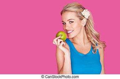 bello, donna sana, mela, giovane