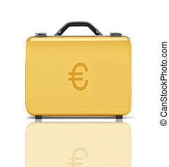 bello, dorato, cartella, affari, soldi, rappresentare, euro