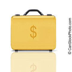 bello, dorato, (clipping, cartella, affari, soldi, dollaro, path), rappresentare, riflessione