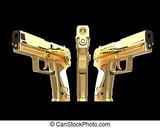 bello, dorato, tre, pistole, baluginante, lato