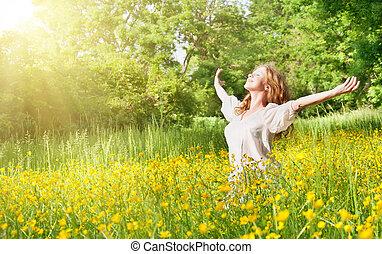 bello, estate, ragazza, godere, sole