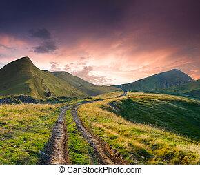 bello, estate, strada, paesaggio, montagne
