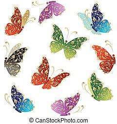 bello, farfalla, arte, dorato, volare, ornamento, floreale