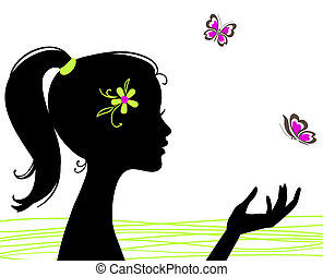 bello, farfalla, ragazza, silhouette