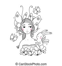 bello, farfalle, lepre, ragazza, giovane