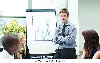 bello, figure vendite, uomo affari, segnalazione