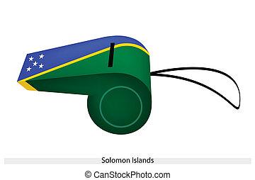 bello, fischio, bandiera, isole solomon