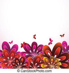 bello, fondo., fiore, vettore