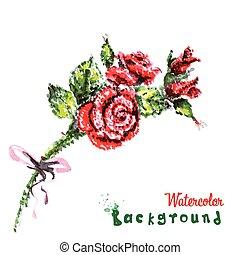 bello, fondo, mazzolino, mano, acquarello, flowers., rose, disegno