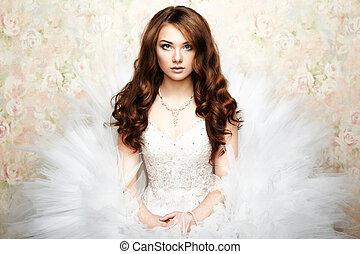 bello, foto, bride., ritratto, matrimonio