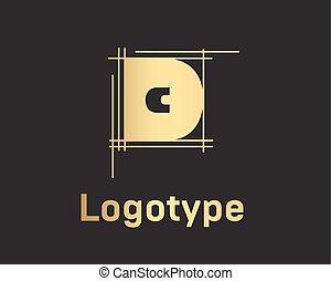 bello, grafico, d, oro, alfabeto, vettore, lettera