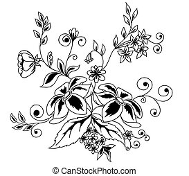 bello, guipure, nero-e-bianco, elemento, embroidery., disegno, imitazione, floreale, fiori, foglie, element.