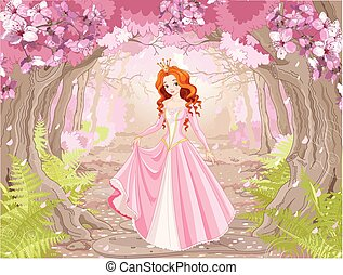 bello, haired, principessa, rosso