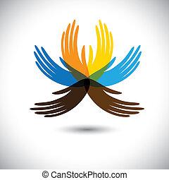 bello, hands-, esposizione, fiore, alleanza, colorito, persone, questo, insieme, astratto, ecc, comunità, unità, concetti, petali, vettore, illustrazione, mani umane, consiste, graphic.
