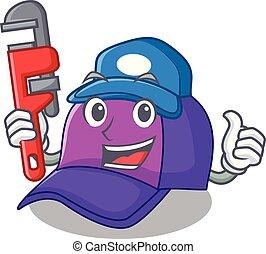 bello, idraulico, berretto, forma, baseball, cartone animato