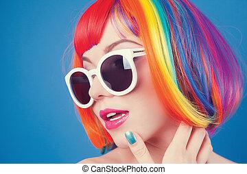 bello, il portare, donna, colorito, parrucca