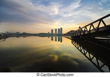bello, lakeshore, riflessione, legno, sopra, scenario, molo, lago, fondo, alba