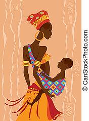 bello, lei, bambino, madre, fionda, africano