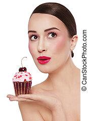 bello, lei, eccitato, sopra, giovane, cupcake, dall'aspetto, saporito, fondo, bianco, mano, espressione, ragazza, verso alto
