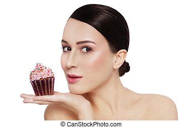 bello, lei, spazio, mano, giovane, cupcake, saporito, ragazza, copia