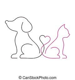 bello, magro, gatto, linea, cane, icone