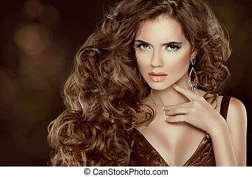 bello, marrone, donna, bellezza, isolato, lungo, lussuoso, capelli, ondulato, portrait., capelli, fondo, scuro, modello, moda, ragazza
