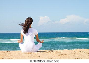 bello, meditazione, donna, giovane